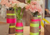 If you're looking for a project, check out these rope vases. There's something very right about the unexpected shots of neon paired with the natural tones.