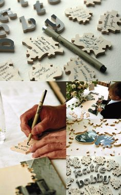 A fun idea for a wedding guest book - photo puzzles for the guests to sign on.