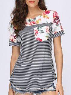 Simple Cheap Chic, Shop Summer Cotton Women Round Neck Floral Striped Short Sleeve T-Shirts online. Sewing Clothes Women, Clothes For Women, High Collar Blouse, Mode Kimono, Sewing Shirts, Sewing Pants, Dress Sewing, Sleeveless Jacket, Pants Pattern