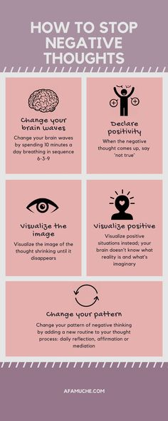 How To Stop Negative Thoughts Infographic positive growth infographic growth mindset positive tips for growth personal development self-improvement development Positive Mindset, Positive Attitude, Positive Affirmations, Positive Psychology, Spiritual Psychology, Positive Mental Health, Positive Living, Positive Vibes Only, True 6