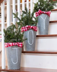 "mrandmrs2015: "" The last #10minutedecorating of the year - and this time it is quick #christmasdecorating ideas. I put together these simple galvanized maple buckets. I also added fairy lights for..."
