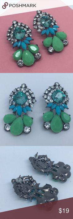 Blue & Green Bright Jeweled Large Earrings NEW Brand new and unworn!  We ship same day or next. Please use bundle button if you would like a discount! Jewelry Earrings