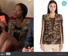 Tamra's camouflage cape jacket on The Mindy Project.  Outfit Details: https://wornontv.net/62193/ #TheMindyProject
