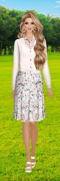 Covet Fashion Games, Fashion Art, Fashion Looks, Blond, Barbie, Couture, Floral, Skirts, Anime