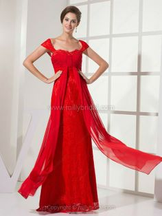 Sheath/Column Off-the-shoulder Lace Chiffon Floor-length Criss Cross Prom Dress