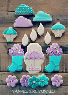 Fabulously fun Spring Baby Shower Cookies. #cookies #party #purple #blue