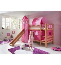 lit superpos blanc avec toboggan pirate enfants. Black Bedroom Furniture Sets. Home Design Ideas
