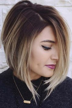 Inverted Bob Hiarcut With Side Swept Bangs  ★ Medium length hairstyles can look amazingly beautiful on every woman. Such haircuts look classy, yet stylish, beautiful, yet bold. Look our collection of the best medium length hairstyles! #mediumlengthhairstyles #mediumhair #bobhaircut #shoulderlengthhairstyles #hairstyle