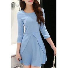 Elegan 3/4 Sleeve Round Neck Women's Dress