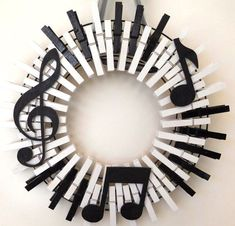 Musical Instrument, Piano Keys, Sheet Music, Treble Clef, Musician Clothespin Wreath, American Made. 4 of 5 components of this clothespin wreath ... -  - #decoration