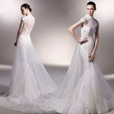 wedding dress - http://zzkko.com/n215356-eorge-bride-wedding-high-collar-elegant-tail-custom-custom-fishtail-lace-Flax-senior-wedding.html $39.15
