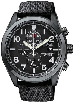 Citizen Eco-Drive Black Canvas Chronograph CA0255-01E