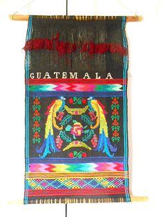Vintage Guatemalan colorful woven bird Wall by houuseofwren