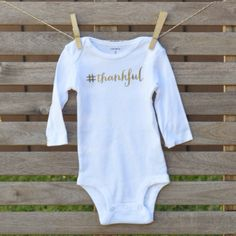 The Thankful Onesie  Long Sleeved by thelittlegooseshop on Etsy