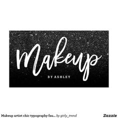 Makeup artist chic typography faux black glitter business card