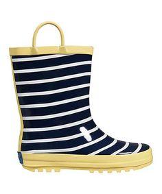 Loving this Blue & Yellow Sunny Stripe Rain Boot on #zulily! #zulilyfinds