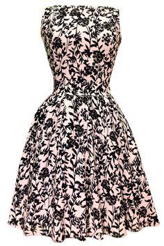 Elegant Black Floral on Pink Tea Dress
