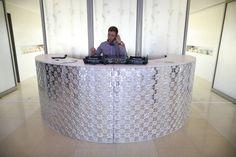 Silver bar for DJ desk