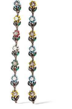Gucci | Ruthenium-plated, Swarovski crystal and faux pearl clip earrings | NET-A-PORTER.COM