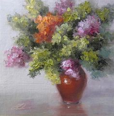 "Daily+Paintworks+-+""Fall+Hydrangeas""+-+Original+Fine+Art+for+Sale+-+©+Pat+Fiorello"