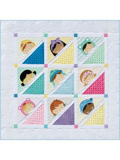 Quilt Patterns - Such a precious scene as Sleepy Babies, especially in this two-version baby quilt, with an included pattern for a pieced block wall hanging. Finished size: x for all versions. Baby Quilt Patterns, Quilting Patterns, Quilting Projects, Sewing Patterns, Girls Quilts, Baby Quilts, Pattern Design, Free Pattern, Block Wall