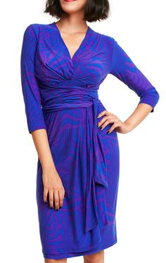 The Alexa Blu Dress is artfully designed to mimic a wrap dress, and perfect for larger busts. An incredibly flattering dress, the Alexa Blu Dress has a long self-tie belt that cinches in the waist and adds stunning detail to the front, creating a gentle slimming effect whilst looking silky and chic. Soft, easy-care fabric makes this dress perfect weight and ideal day to evening dress.