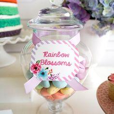 Rainbow blossom cookies from a Pastel Unicorn Birthday Party on Kara's Party Ideas   KarasPartyIdeas.com (17)