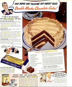 Image detail for -Dying for Chocolate: Double Mocha Chocolate Cake: Vintage Ad & Recipe - - but where to get coffee syrup? Chocolate Mocha Cake, Bakers Chocolate, Craving Chocolate, Retro Recipes, Vintage Recipes, Food Cakes, Cupcake Cakes, Rose Cupcake, Cupcake Toppers
