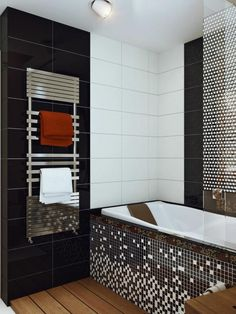 carrelage salle de bain noir et blanc et mosaïque assortie