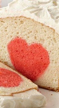 Surprise Raspberry Heart Cake ❊