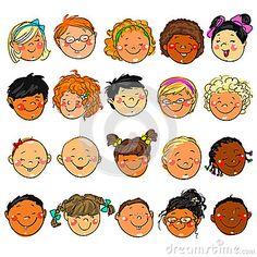 Happy Kids faces. Hand drawn clip-art.