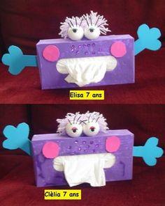 bricolage pour enfant avec boite de kleenex   Boîtes à mouchoirs !