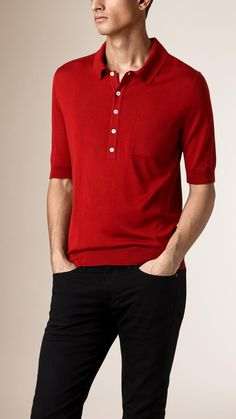 Fine Gauge Knitted Silk Polo Shirt | Burberry
