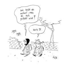 - Wie heißt das nochmal, wenn bei euch gefastet wird? + Hartz IV.  (Karikatur von Hauck & Bauer)   #karikatur #humor #spruch #sprüche #lustig #cool #witzig