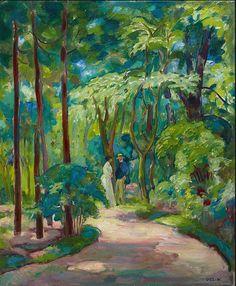 Emil Orlik (Czech.1870-1934 Germany)Zwiegespräch - Colloquy (c. 1910-1915)oil on painter's board 60.7 x 50.1 cm