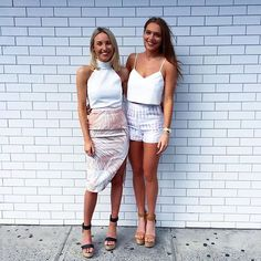 Our KOOKAÏettes styled in the Nerida Top, Lagoon Skirt, Caribbean Wedges, Soho Crop Top & Cherokee Shorts xx #kookai
