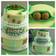 Two peas in a pod baby shower cake I made.  Homemade fondant and white cake with strawberry filling.