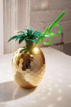 Becher im Disco-Ananasdesign für unterwegs mit Strohhalm
