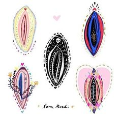Vulva art in different styles! This is so lovely, which one is your favorite? I really like the top one on the right. Reminds me of a queen with a little crown up top! Anatomy Models, Gay Aesthetic, Feminist Art, Lowbrow Art, Collage, Queen, Divine Feminine, Erotic Art, Art Google