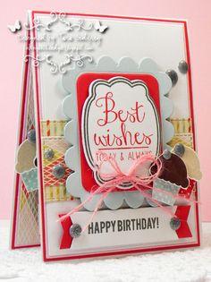 Card by Tara Godfrey. Reverse Confetti stamp set: In a Big Way. Confetti Cuts: Give Thanks Label. Birthday card.