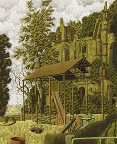 """Montagaulx"" ~ Watercolour, Ink & Gouache Painting by Simon Palmer, English Artist born in 1956 . Gouache Painting, Painting & Drawing, Cottage Art, Perspective Drawing, English Artists, Modern Landscaping, Contemporary Landscape, Cool Artwork, New Art"