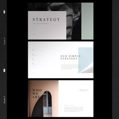 Strategy Presentation Template is a simple presentation to show your project & ideas. This is the right business portfolio presentation for everyone who wants Video Presentation, Portfolio Presentation, Presentation Layout, Business Presentation, Presentation Templates, Layout Design, Web Layout, Book Design, Design Design