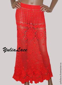Вязаная юбка - ярко-красный,вязаная юбка,юбка крючком,юбка в пол,юбка длинная