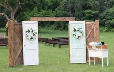 My favorite and most desired rental item in my collection!!!  This was designed by the couple and myself with lots of love made extra special by the groom! These doors makes my collection complete.  :)