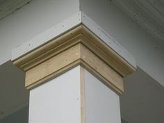 Replacing A Wood Porch Post The column capital or top molding is comprised of three piece of material: a 22 square block x 6 window stop Porch Columns, House With Porch, House Front, House Exterior, Porch Design, Porch Makeover, Moldings And Trim, Window Stops, Building A Porch