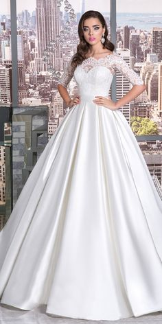 Elegant Tulle & Satin Bateau Neckline A-Line Wedding Dress With Lace Appliques & Belt