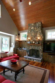 River Rock Fireplaces Design, Pictures, Remodel, Decor and Ideas