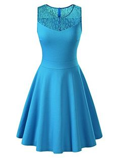 85ecd21879a2 KIRA Womens Sleeveless ALine Evening Party Lace Cocktail Dress XLarge Lake  Blue     Click image to review more details. (Note Amazon affiliate link)    ...