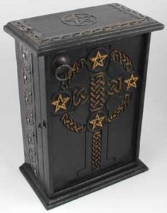 Wooden Drawer Pentagram and Celtic Altar Herb Cupboard - Drawers, and Cupboards | Meta Pot