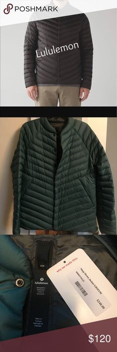Men's Green Snap Down Jacket M I wanted a break from wearing black winter jackets so I bought this. Think I wore it twice. It's nice and warm. It's a men's size Med, but it Fit me nicely over sweaters and warmer clothing g and covered my bum (I'm 5'3.) Perfect condition. Measurements: chest: 22 inches, length:28. lululemon athletica Jackets & Coats Puffers